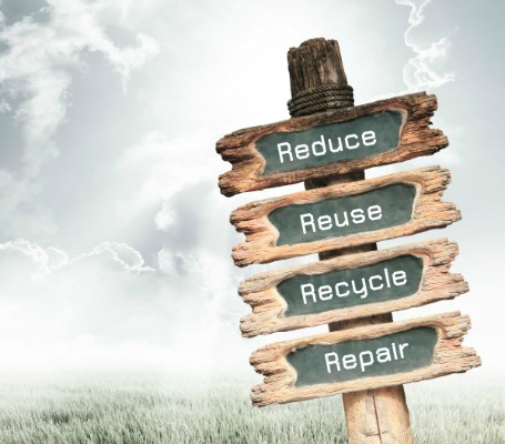 Vintage wooden sign with Reduce, Reuse, Recycle and Repair wording on nature background, ecology concept.